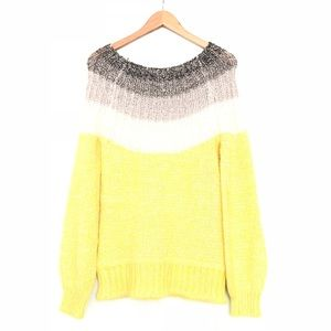 Maurices Yellow, Grey, White, Knit Sweater EUC